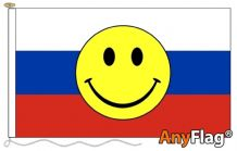 -RUSSIA SMILEY FACE ANYFLAG RANGE - VARIOUS SIZES